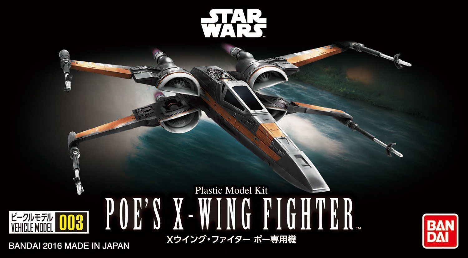 Poe's X-Wing Fighter, Star Wars Plastic Model Kit, Bandai Vehicle Series  #003